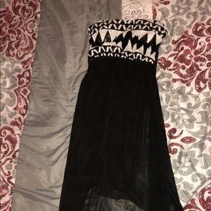 Black strapless high-low dress